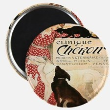 Vintage French Woman Dogs Cats Magnet