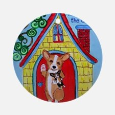 Home is Where The Corgi is Round Ornament