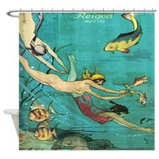 Vintage French Women Fish Sea Shower Curtain