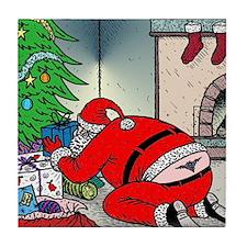Santas tramp stamp Tile Coaster
