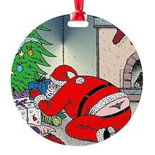 Santas tramp stamp Round Ornament