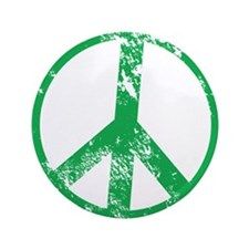 """Green Distressed Peace 3.5"""" Button"""