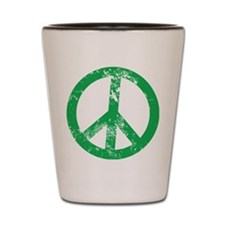 Green Distressed Peace Shot Glass