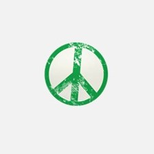 Green Distressed Peace Mini Button