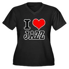 I Heart (Love) Jazz Women's Plus Size V-Neck Dark
