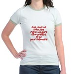 God, save us from the right w Jr. Ringer T-Shirt