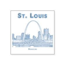 "StLouis_10x10_Downtown_Blue Square Sticker 3"" x 3"""