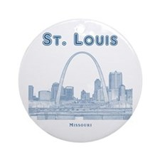 StLouis_10x10_Downtown_Blue Round Ornament