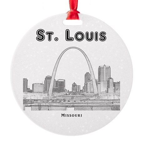 StLouis_10x10_Downtown_Black Round Ornament
