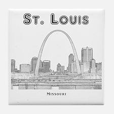 StLouis_10x10_Downtown_Black Tile Coaster