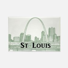 StLouis_Downtown_Rect_BlackGreen Rectangle Magnet
