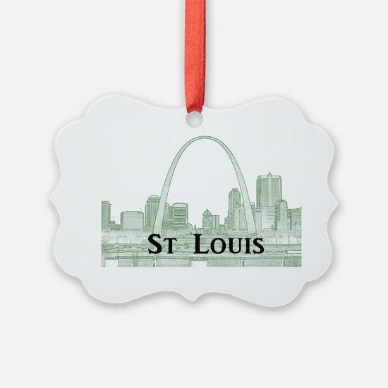 StLouis_Downtown_Rect_BlackGreen Ornament