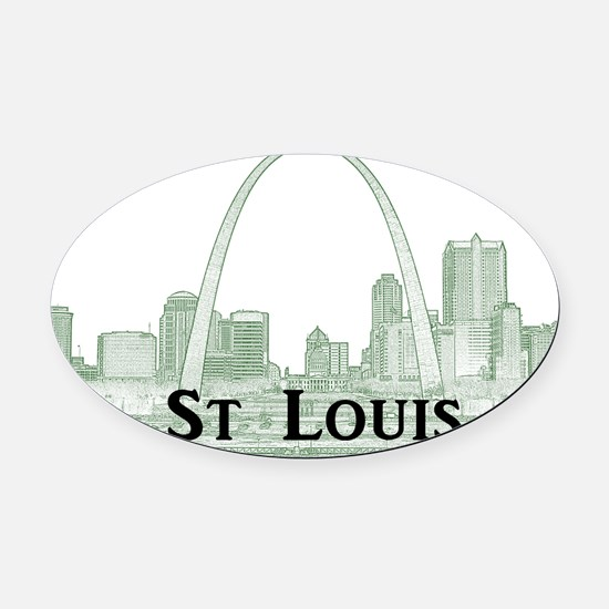 StLouis_Downtown_Rect_BlackGreen Oval Car Magnet