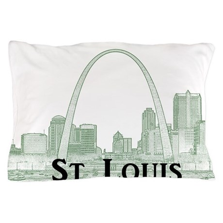 StLouis_Downtown_Rect_BlackGreen Pillow Case