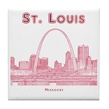 StLouis_10x10_Downtown_Red Tile Coaster