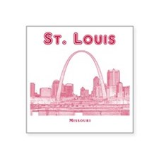 """StLouis_10x10_Downtown_Red Square Sticker 3"""" x 3"""""""