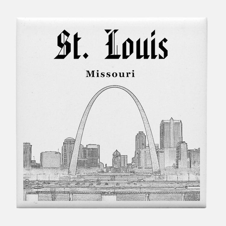 StLouis_12x12_Downtown_Black Tile Coaster