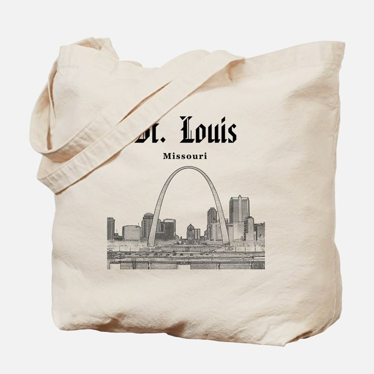 StLouis_12x12_Downtown_Black Tote Bag