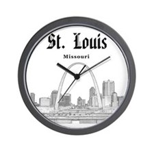 StLouis_12x12_Downtown_Black Wall Clock