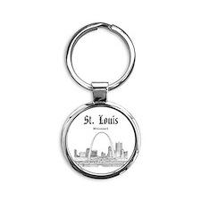 StLouis_12x12_Downtown_Black Round Keychain