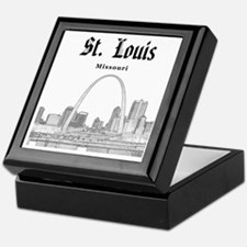 StLouis_12x12_Downtown_Black Keepsake Box