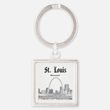 StLouis_12x12_Downtown_Black Square Keychain