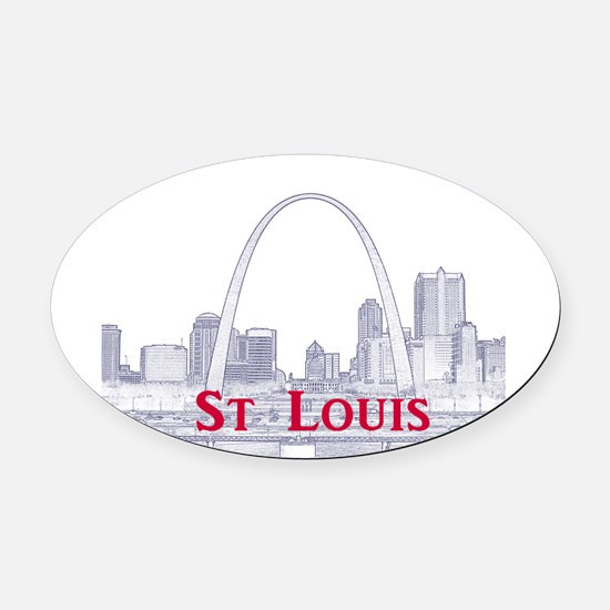 StLouis_Downtown_Rect_BlueRed Oval Car Magnet