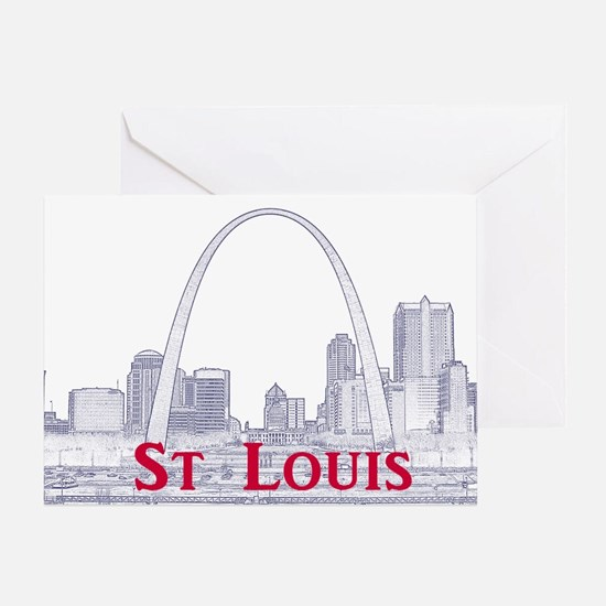 StLouis_Downtown_Rect_BlueRed Greeting Card