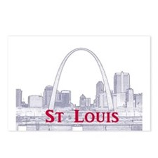 StLouis_Downtown_Rect_Blu Postcards (Package of 8)