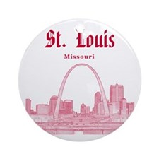 StLouis_12x12_Downtown_Red Round Ornament