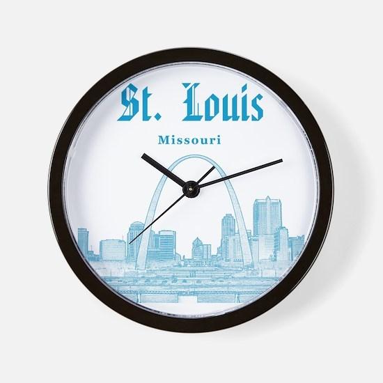 StLouis_12x12_Downtown_Blue Wall Clock