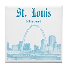 StLouis_12x12_Downtown_Blue Tile Coaster