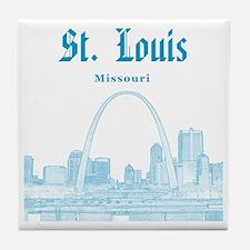 StLouis_12x12_Downtown_Blue Tile Coaster