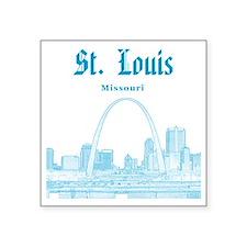 "StLouis_12x12_Downtown_Blue Square Sticker 3"" x 3"""