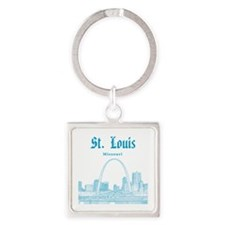 StLouis_12x12_Downtown_Blue Square Keychain
