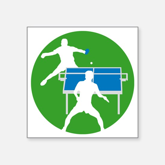 "male table tennis players Square Sticker 3"" x 3"""