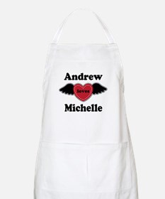Personalized Wing Heart Couples Love Apron
