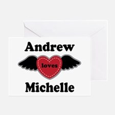 Personalized Wing Heart Couples Love Greeting Card