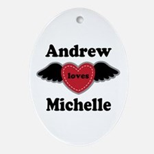 Personalized Wing Heart Couples Love Ornament (Ova