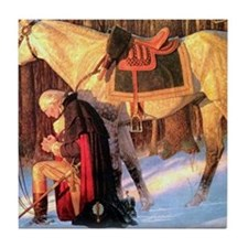 Mt. Vernon Painting of George Washing Tile Coaster