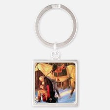 Mt. Vernon Painting of George Wash Square Keychain