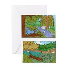 Chesire Cat and Otter Side by Side Greeting Card