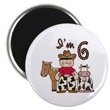 "Cowboy 6th Birthday 2.25"" Magnet (100 pack)"