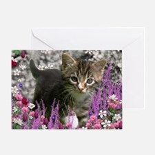 Emma Tabby Kitten in Flowers I Greeting Card