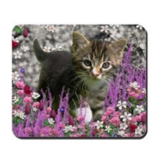 Emma Tabby Kitten in Flowers I Mousepad