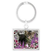 Emma Tabby Kitten in Flowers I Landscape Keychain