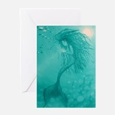 aqua mermaid area rug Greeting Card