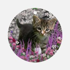 Emma Tabby Kitten in Flowers I Round Ornament