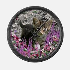 Emma Tabby Kitten in Flowers I Large Wall Clock