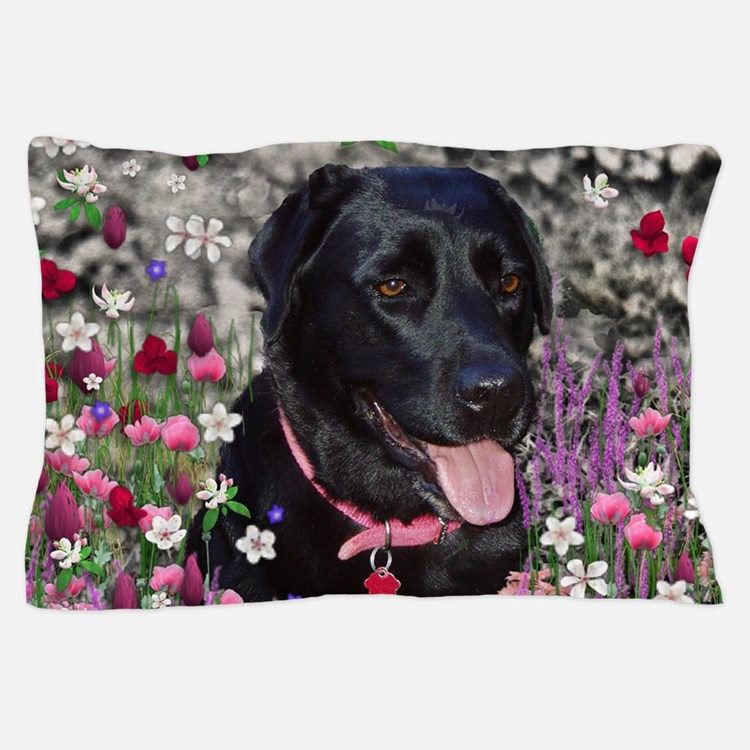 Abby the Black Lab in Flowers Pillow Case